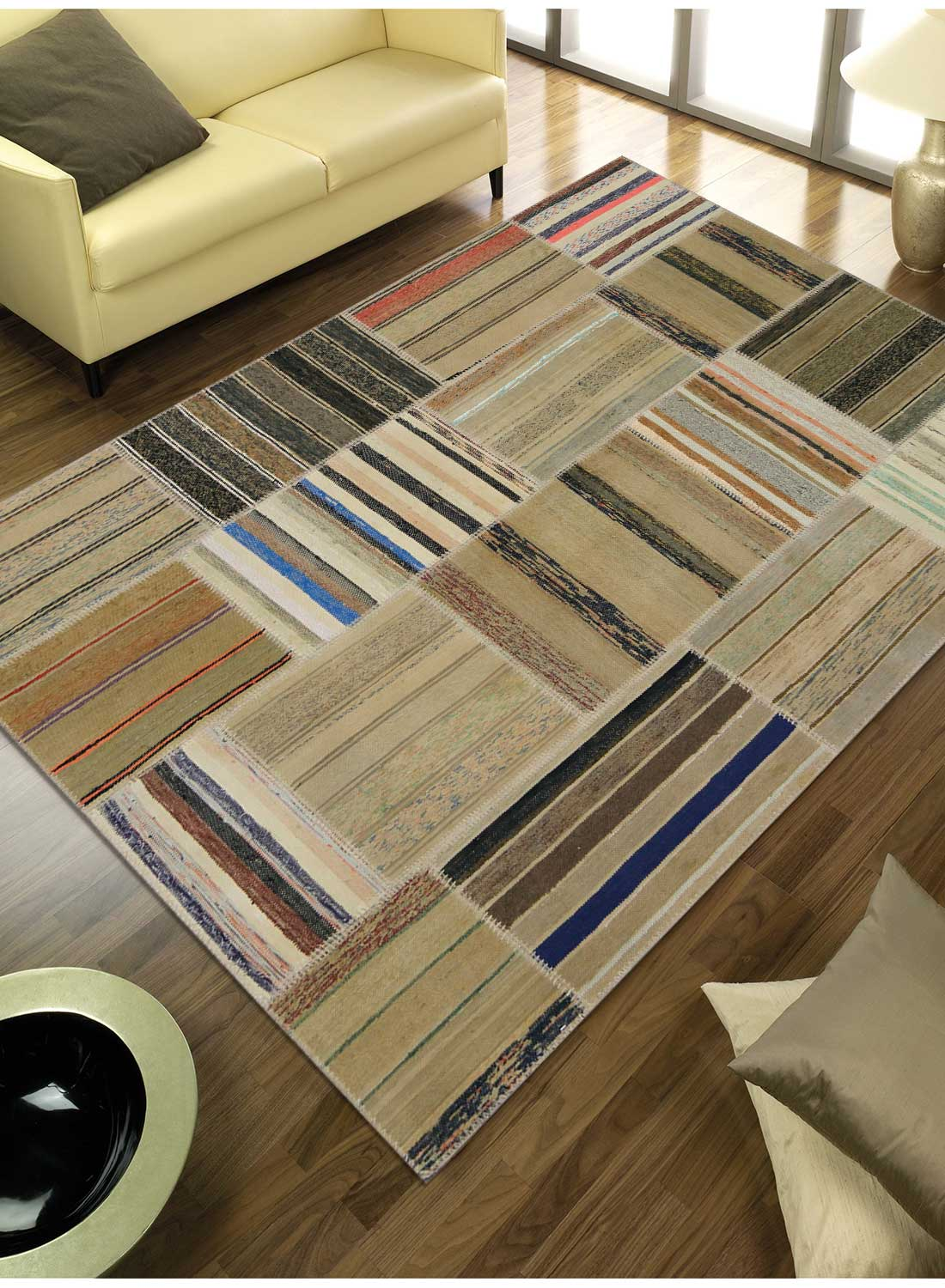 tapis moderne pour tr s grand salon retro patchwork 1 tapis naturel par unamourd ebay. Black Bedroom Furniture Sets. Home Design Ideas