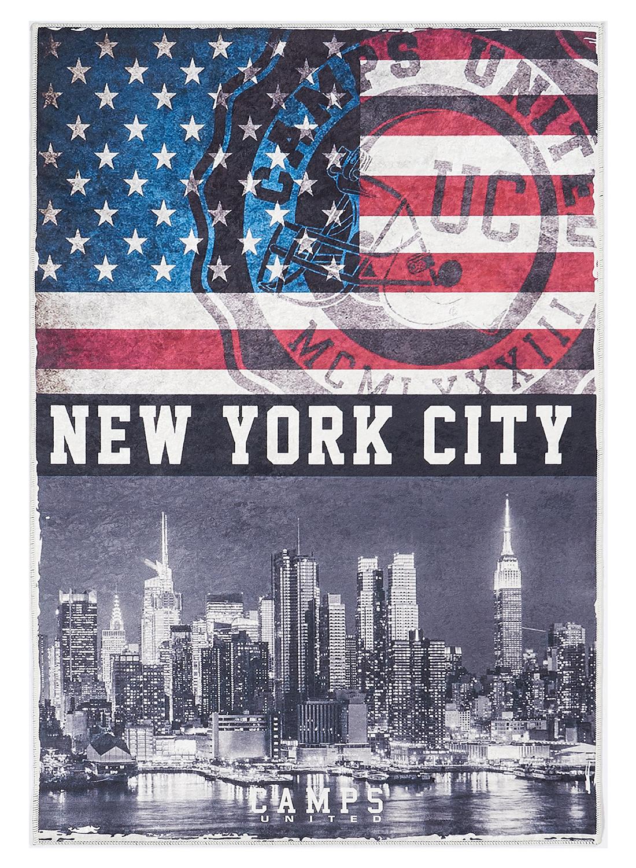 Tapis chambre adolescent NYC CAMPS gris, noir, bleu, rouge, écru