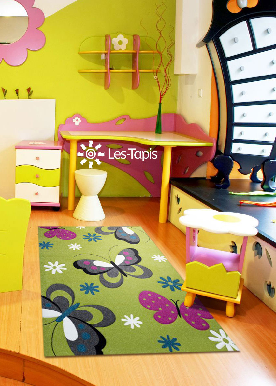 Tapis chambre enfant kids papillons en polypropylène, par ...