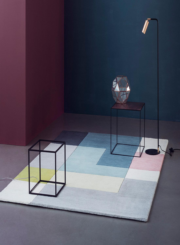 Tapis pour salon motifs geometriques tetris tapis moderne for Moquette motif geometrique